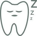 "An illustration of a tooth sleeping with ""Z"" icons."