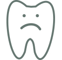 An illustration of a tooth frowning.