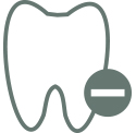 An illustration of a tooth with a minus symbol.